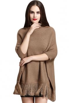 Womens Mock Neck Batwing Sleeve Fringed Side Slit Sweater Khaki