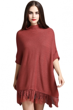 Womens Mock Neck Batwing Sleeve Fringed Side Slit Sweater Red