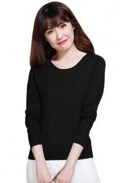 Womens Crewneck Long Sleeve Plain Thin Pullover Sweater Black