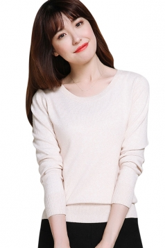 Womens Crewneck Long Sleeve Plain Thin Pullover Sweater Beige White