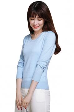 Womens Crewneck Long Sleeve Plain Thin Pullover Sweater Light Blue
