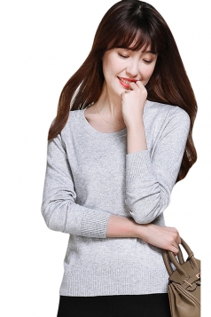Womens Crewneck Long Sleeve Plain Thin Pullover Sweater Light Gray