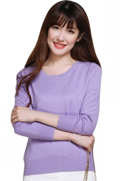 Womens Crewneck Long Sleeve Plain Thin Pullover Sweater Purple