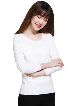 Womens Crewneck Long Sleeve Plain Thin Pullover Sweater White