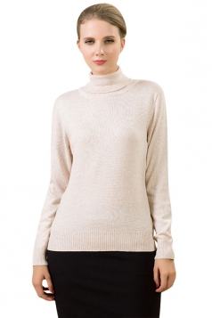 Womens Simple High Neck Long Sleeve Plain Pullover Sweater Beige