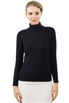 Womens Simple High Neck Long Sleeve Plain Pullover Sweater Black