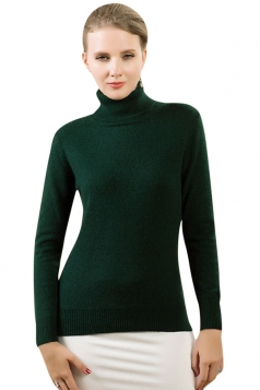 Womens Simple High Neck Long Sleeve Plain Pullover Sweater Dark Green