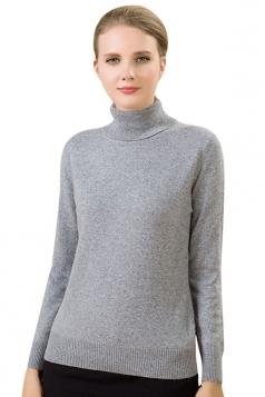 Womens Simple High Neck Long Sleeve Plain Pullover Sweater Light Gray