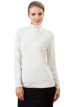 Womens Simple High Neck Long Sleeve Plain Pullover Sweater White