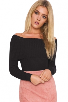 Womens Off Shoulder Long Sleeve Crochet Pullover Plain Sweater Black