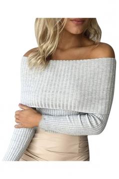 Womens Off Shoulder Long Sleeve Crochet Pullover Plain Sweater Gray