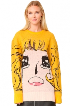 Womens Sailor Moon Patterned Long Sleeve Pullover Sweater Yellow