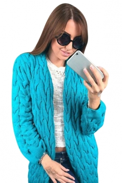 Womens Retro Cable Knitted Long Sleeve Plain Cardigan Sweater Blue
