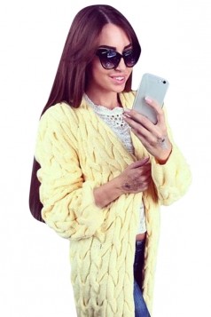 Womens Retro Cable Knitted Long Sleeve Plain Cardigan Sweater Yellow