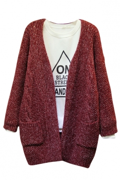 Womens Double Pockets Knitted Long Sleeve Plain Cardigan Sweater Ruby