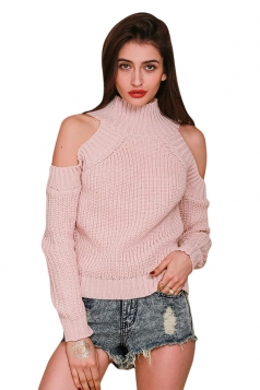 Womens Mock Neck Cold Shoulder Long Sleeve Pullover Plain Sweater Pink