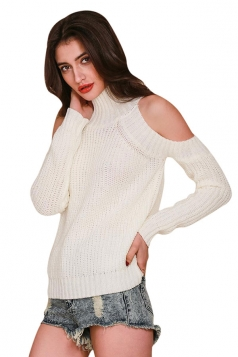 Womens Mock Neck Cold Shoulder Long Sleeve Pullover Sweater White
