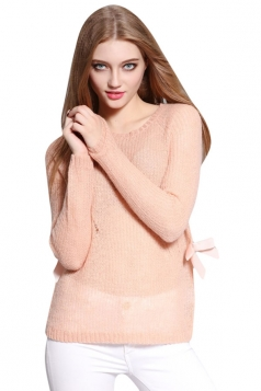 Womens Sheer Crewneck Long Sleeve Pullover Plain Sweater Pink