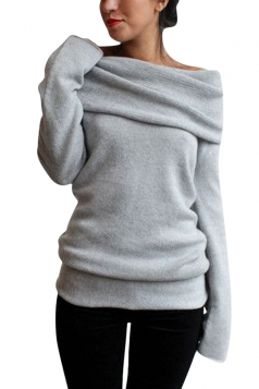 Womens Cowl Neck Long Sleeve Pullover Plain Sweater Light Gray
