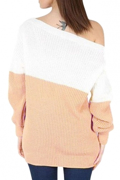 Womens Boat Neck Color Block Long Sleeve Pullover Sweater White