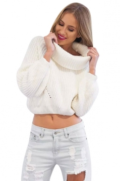 Womens Turtle Neck Long Sleeve Short Plain Pullover Sweater White