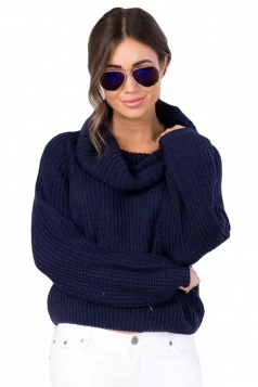 Womens Turtle Neck Long Sleeve Short Plain Pullover Sweater Navy Blue