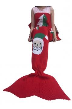 Womens Christmas Santa Claus Patterned Mermaid Woolen Blanket Red