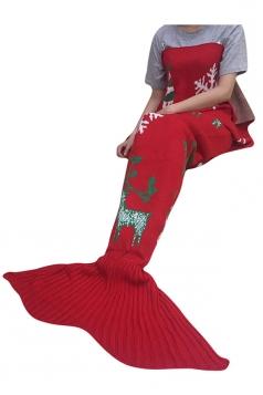 Womens Christmas Reindeer Patterned Mermaid Woolen Blanket Red