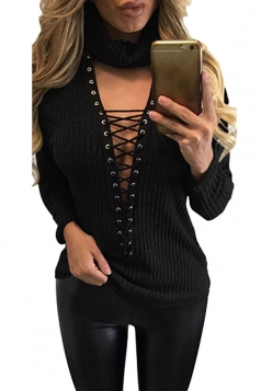 Womens Turtle Neck Lace-up Long Sleeve Pullover Sweater Black