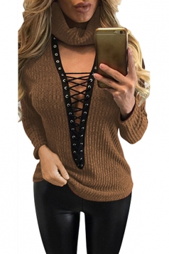 Womens Turtle Neck Lace-up Long Sleeve Pullover Sweater Brown