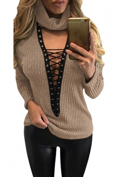 Womens Turtle Neck Lace-up Long Sleeve Pullover Sweater Khaki