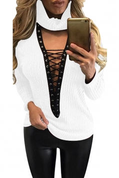 Womens Turtle Neck Lace-up Long Sleeve Pullover Sweater White