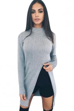 Womens Plain Long Sleeve Side Slit Pullover Sweater Gray