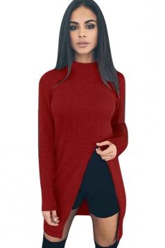 Womens Plain Long Sleeve Side Slit Pullover Sweater Ruby