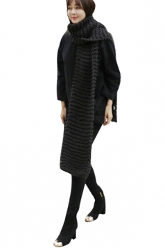 Womens Winter Warm Knitted Plain Scarf Black