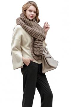 Womens Winter Warm Knitted Plain Scarf Khaki