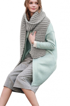 Womens Winter Warm Knitted Plain Scarf Light Gray