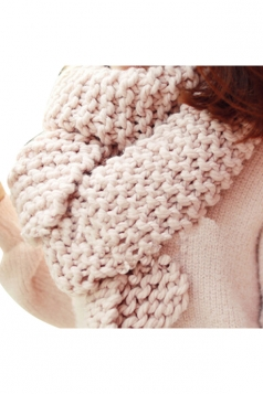 Womens Winter Warm Knitted Plain Scarf Pink