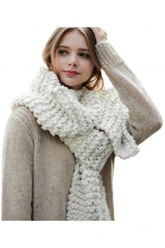Womens Winter Warm Knitted Plain Scarf White