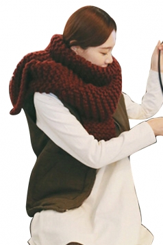 Womens Winter Warm Knitted Plain Scarf Ruby