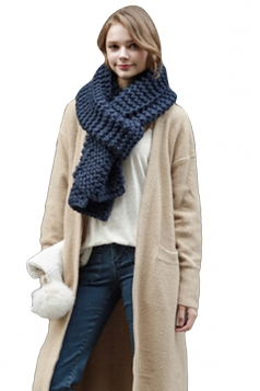 Womens Winter Warm Knitted Plain Scarf Navy Blue