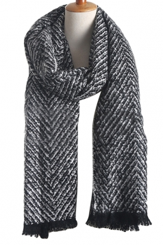 Womens Color Block Striped Tassel Winter Scarf Black