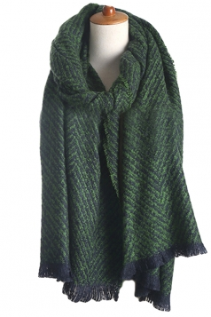 Womens Color Block Striped Tassel Winter Scarf Dark Green