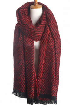 Womens Color Block Striped Tassel Winter Scarf Ruby