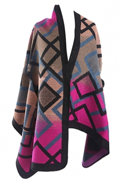 Womens Color Block Geometric Patterned Thick Poncho Purple