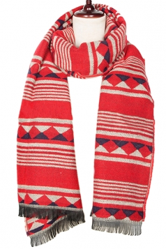 Womens Striped Geometric Patterned Tassel Scarf Red