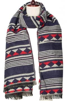 Womens Striped Geometric Patterned Tassel Scarf Navy Blue