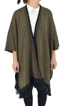 Womens Loose Geometric Patterned Fringed Thick Cardigan Poncho Camel