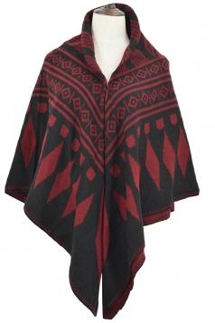 Womens Rhombus Patterned Warm Shawl Scarf Dark Red