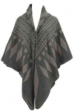 Womens Rhombus Patterned Warm Shawl Scarf Khaki